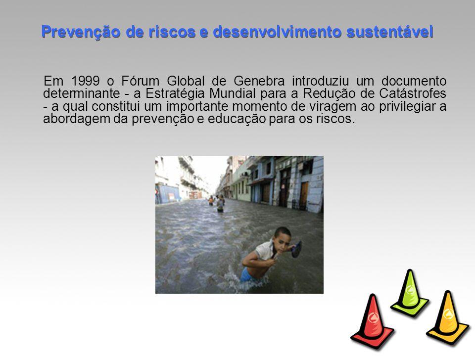 Em 1999 o Fórum Global de Genebra introduziu um documento determinante - a Estratégia Mundial para a Redução de Catástrofes - a qual constitui um importante momento de viragem ao privilegiar a abordagem da prevenção e educação para os riscos.