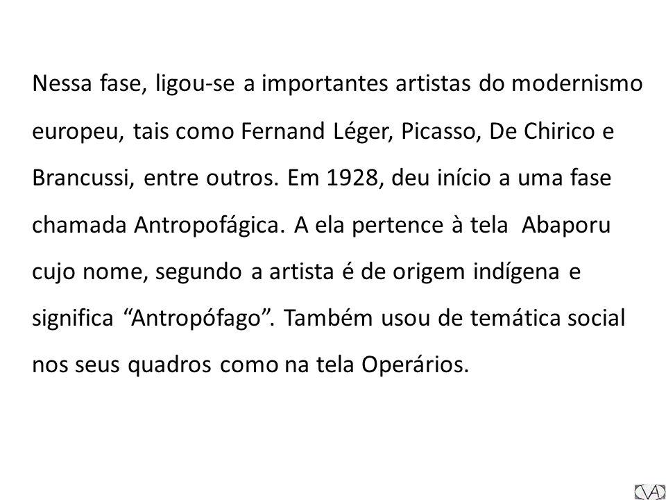 Nessa fase, ligou-se a importantes artistas do modernismo europeu, tais como Fernand Léger, Picasso, De Chirico e Brancussi, entre outros. Em 1928, de