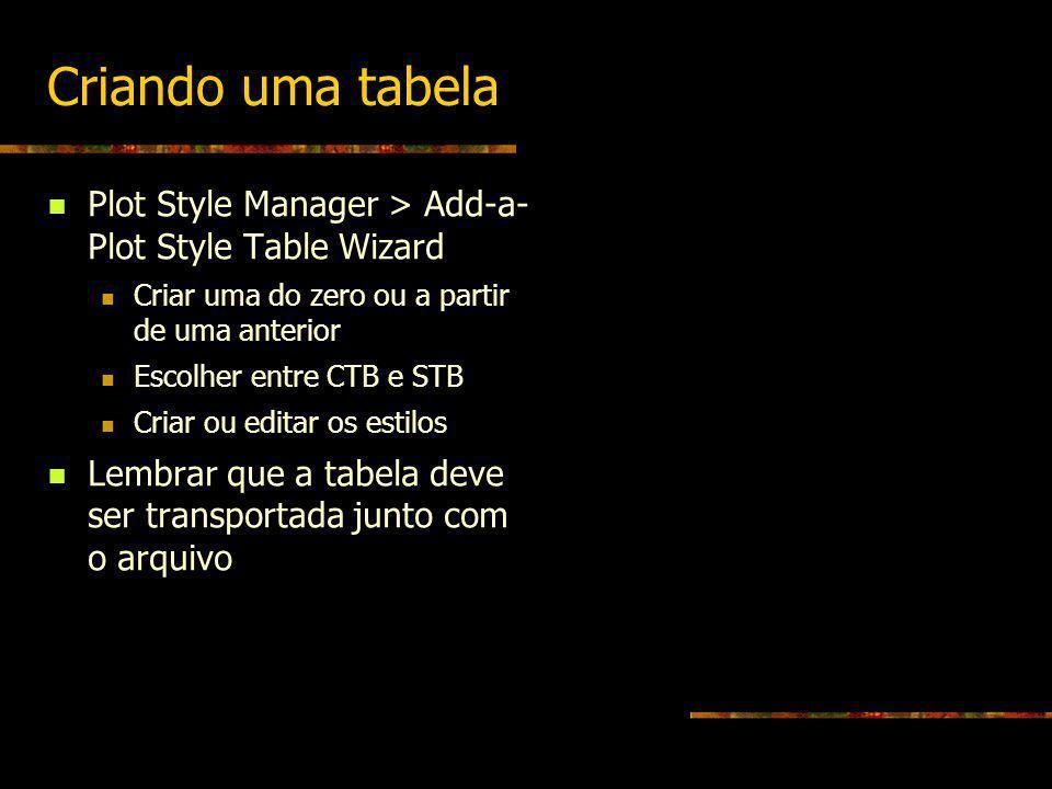Criando uma tabela Plot Style Manager > Add-a- Plot Style Table Wizard Criar uma do zero ou a partir de uma anterior Escolher entre CTB e STB Criar ou
