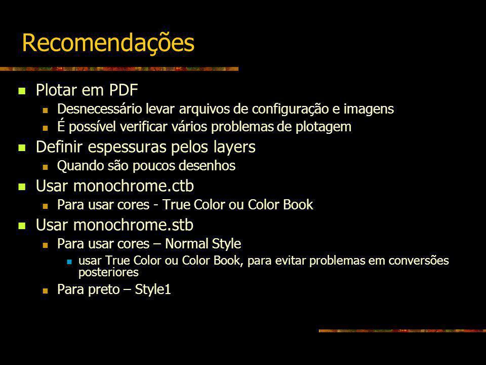 Recomendações Plotar em PDF Desnecessário levar arquivos de configuração e imagens É possível verificar vários problemas de plotagem Definir espessura