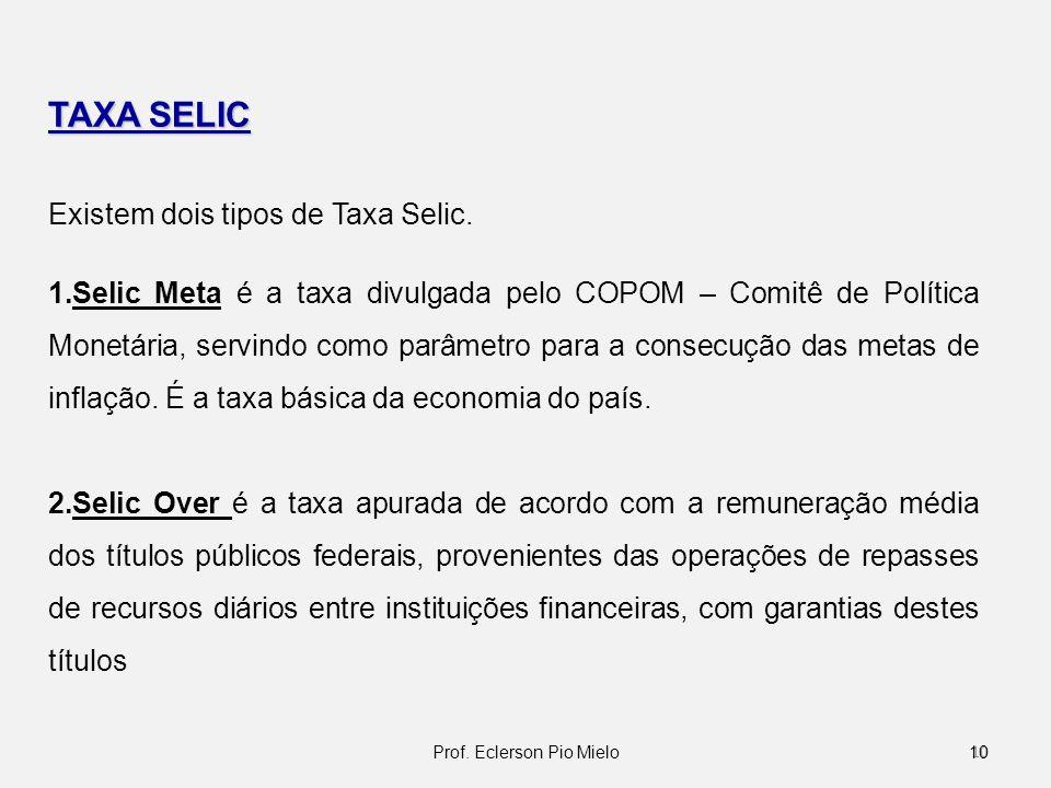 TAXA SELIC Existem dois tipos de Taxa Selic. 1.Selic Meta é a taxa divulgada pelo COPOM – Comitê de Política Monetária, servindo como parâmetro para a