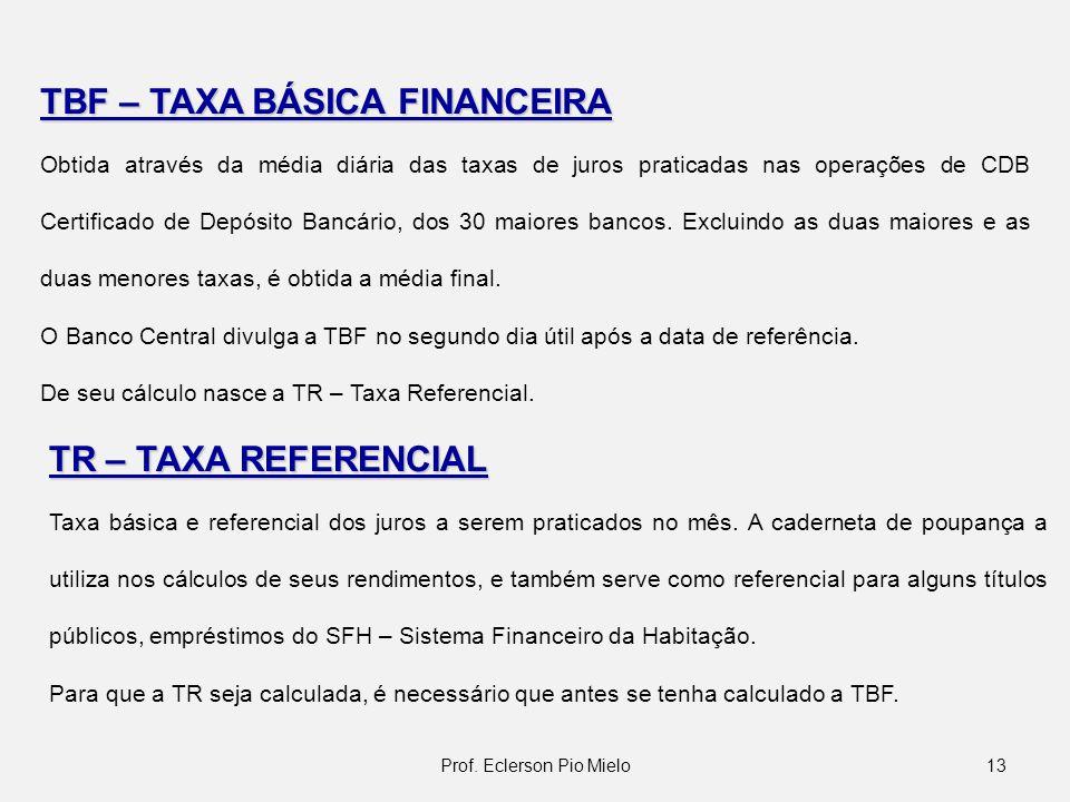 13Prof. Eclerson Pio Mielo TBF – TAXA BÁSICA FINANCEIRA Obtida através da média diária das taxas de juros praticadas nas operações de CDB Certificado