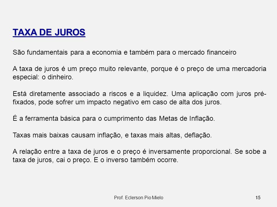 TAXA DE JUROS São fundamentais para a economia e também para o mercado financeiro A taxa de juros é um preço muito relevante, porque é o preço de uma