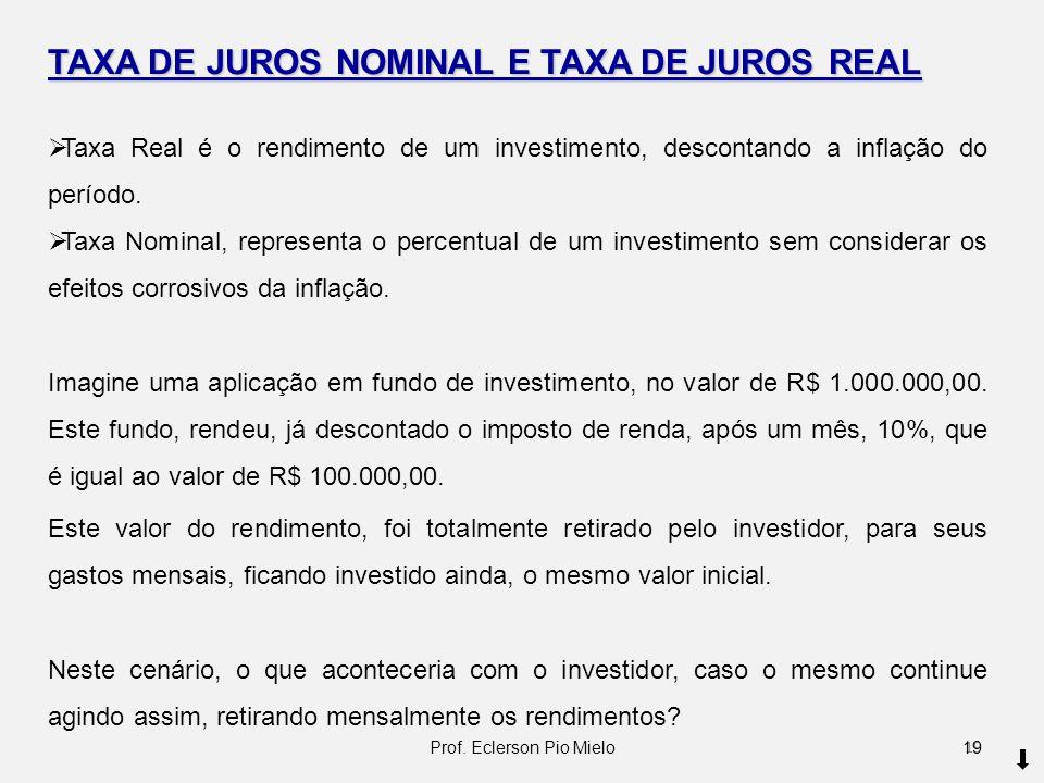 TAXA DE JUROS NOMINAL E TAXA DE JUROS REAL Taxa Real é o rendimento de um investimento, descontando a inflação do período. Taxa Nominal, representa o