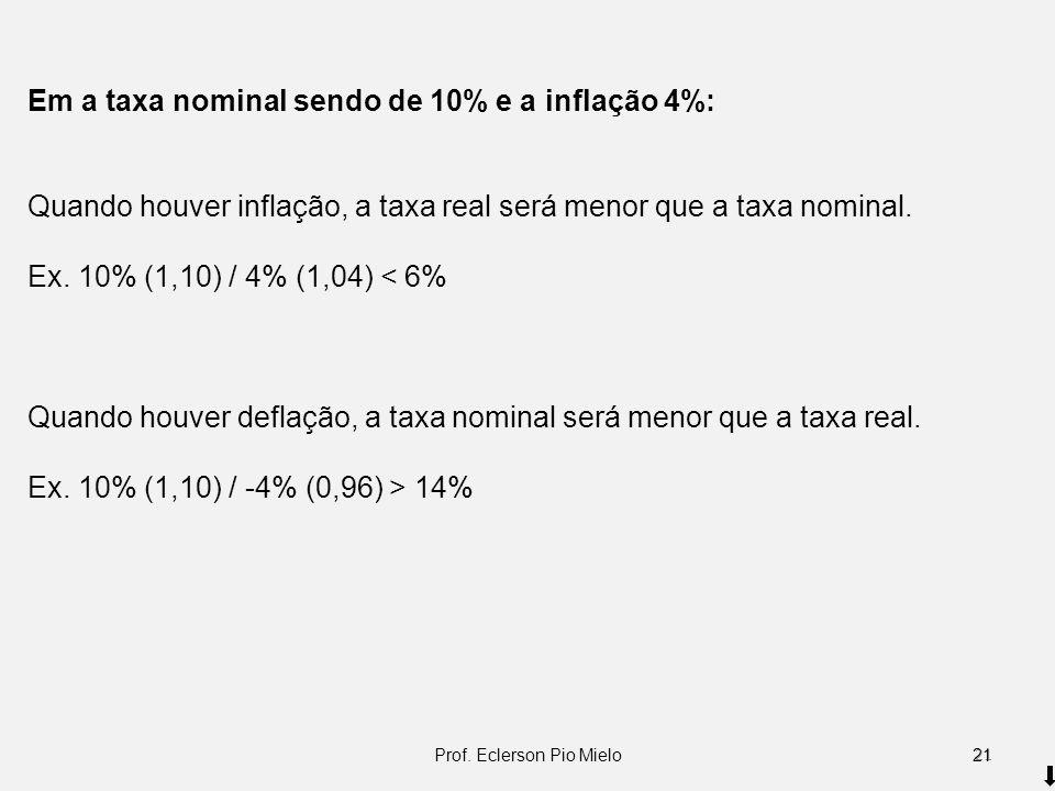 Em a taxa nominal sendo de 10% e a inflação 4%: Quando houver inflação, a taxa real será menor que a taxa nominal. Ex. 10% (1,10) / 4% (1,04) < 6% Qua