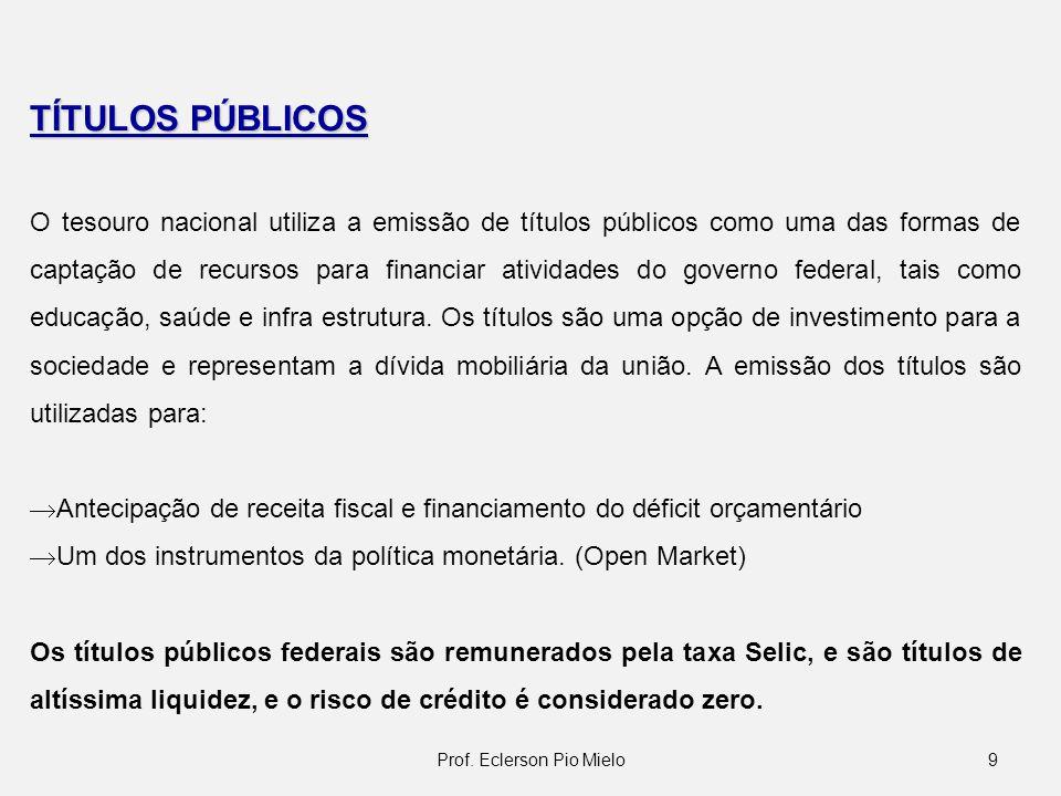 9 TÍTULOS PÚBLICOS O tesouro nacional utiliza a emissão de títulos públicos como uma das formas de captação de recursos para financiar atividades do g
