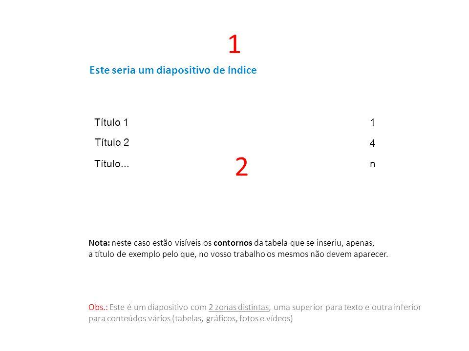Este seria um diapositivo de índice 1 Título 11 Título 2 4 Título...n Nota: neste caso estão visíveis os contornos da tabela que se inseriu, apenas, a título de exemplo pelo que, no vosso trabalho os mesmos não devem aparecer.