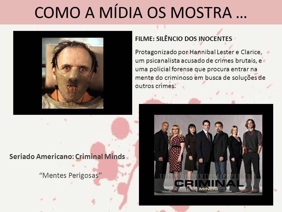 COMO A MÍDIA OS MOSTRA … FILME: SILÊNCIO DOS INOCENTES Protagonizado por Hannibal Lester e Clarice, um psicanalista acusado de crimes brutais, e uma p