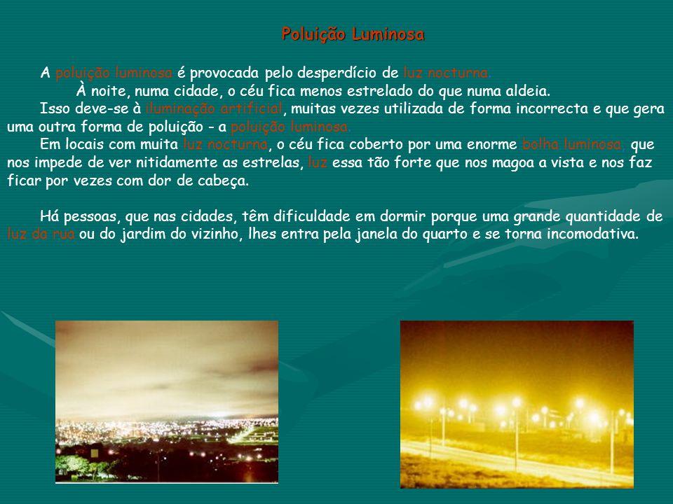 Poluição Luminosa A poluição luminosa é provocada pelo desperdício de luz nocturna. À noite, numa cidade, o céu fica menos estrelado do que numa aldei
