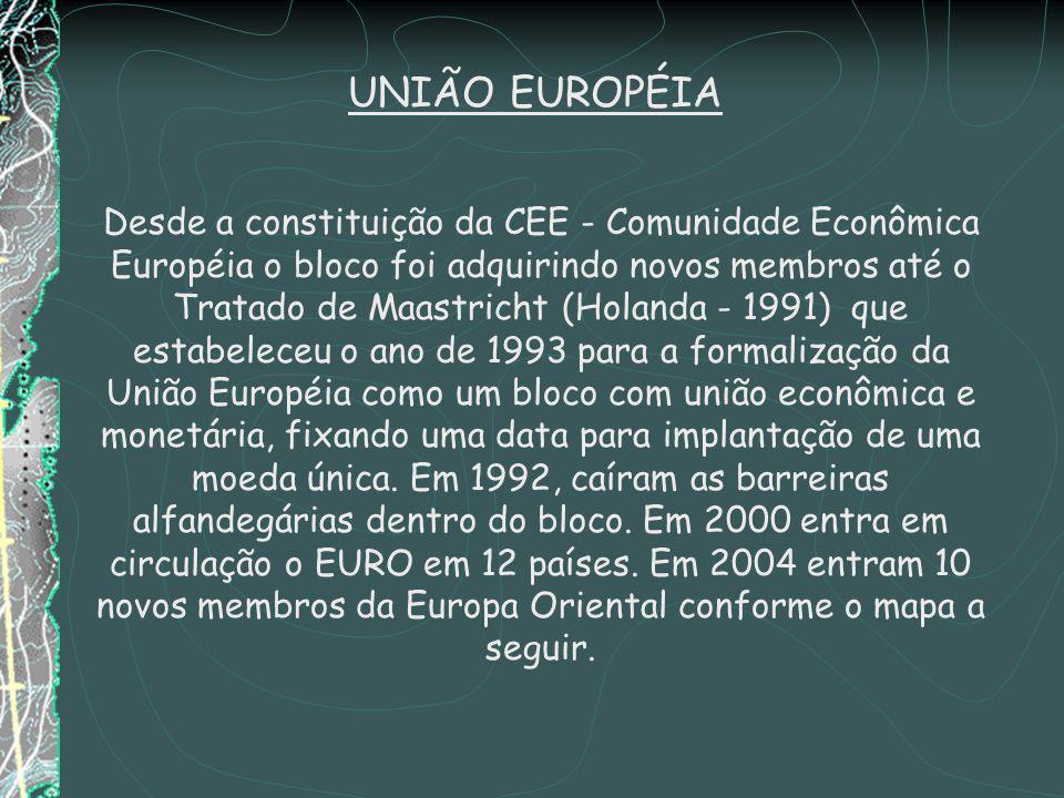 Desde a constituição da CEE - Comunidade Econômica Européia o bloco foi adquirindo novos membros até o Tratado de Maastricht (Holanda - 1991) que estabeleceu o ano de 1993 para a formalização da União Européia como um bloco com união econômica e monetária, fixando uma data para implantação de uma moeda única.