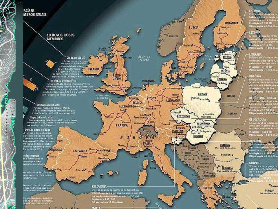 Desde a constituição da CEE - Comunidade Econômica Européia o bloco foi adquirindo novos membros até o Tratado de Maastricht (Holanda - 1991) que esta