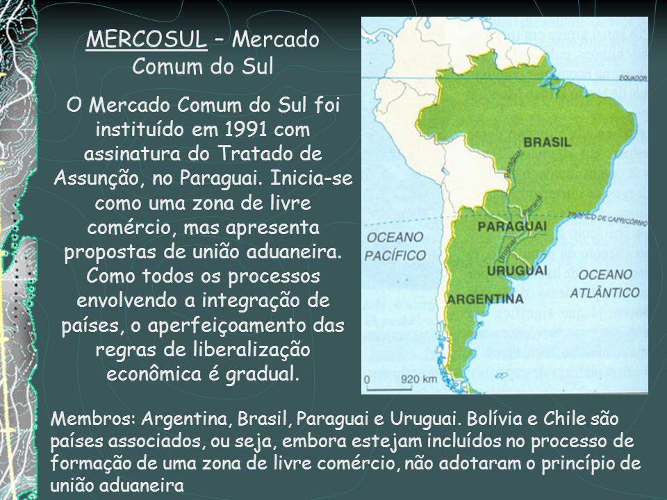 MERCOSUL – Mercado Comum do Sul O Mercado Comum do Sul foi instituído em 1991 com assinatura do Tratado de Assunção, no Paraguai.