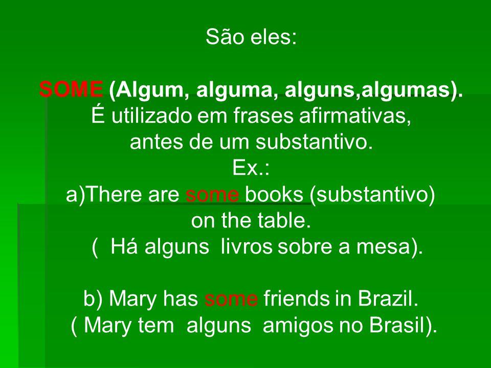 São eles: SOME (Algum, alguma, alguns,algumas). É utilizado em frases afirmativas, antes de um substantivo. Ex.: a)There are some books (substantivo)