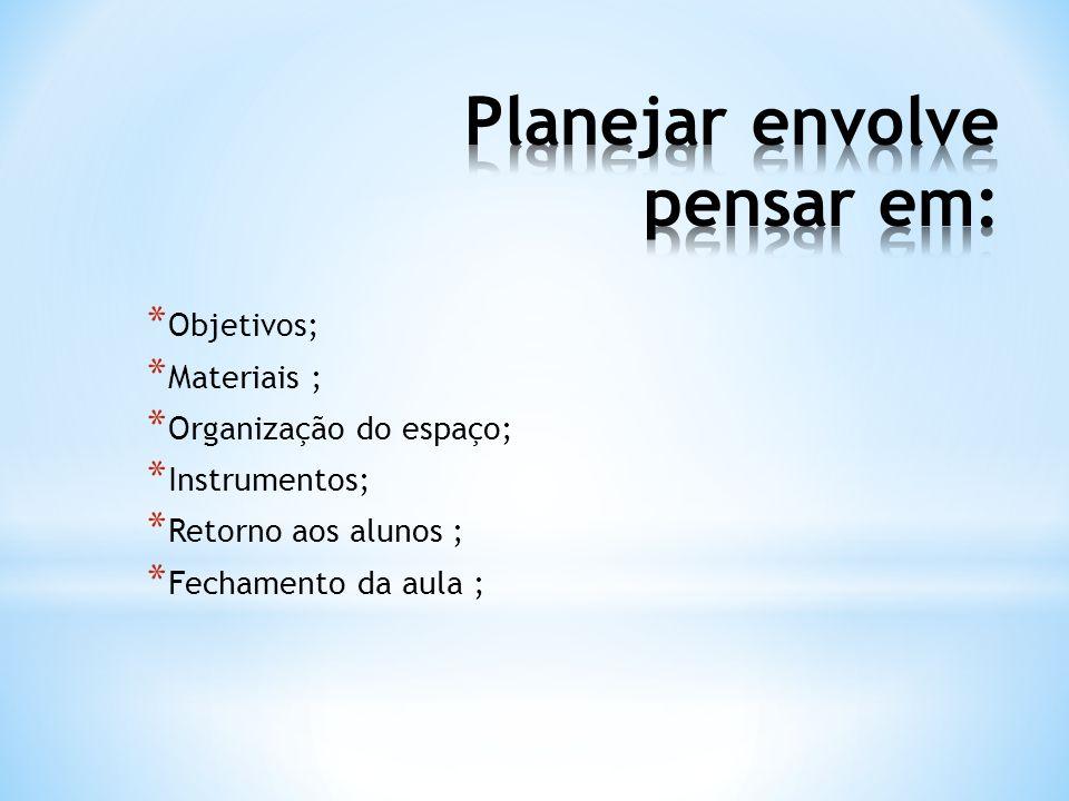 * Objetivos; * Materiais ; * Organização do espaço; * Instrumentos; * Retorno aos alunos ; * Fechamento da aula ;