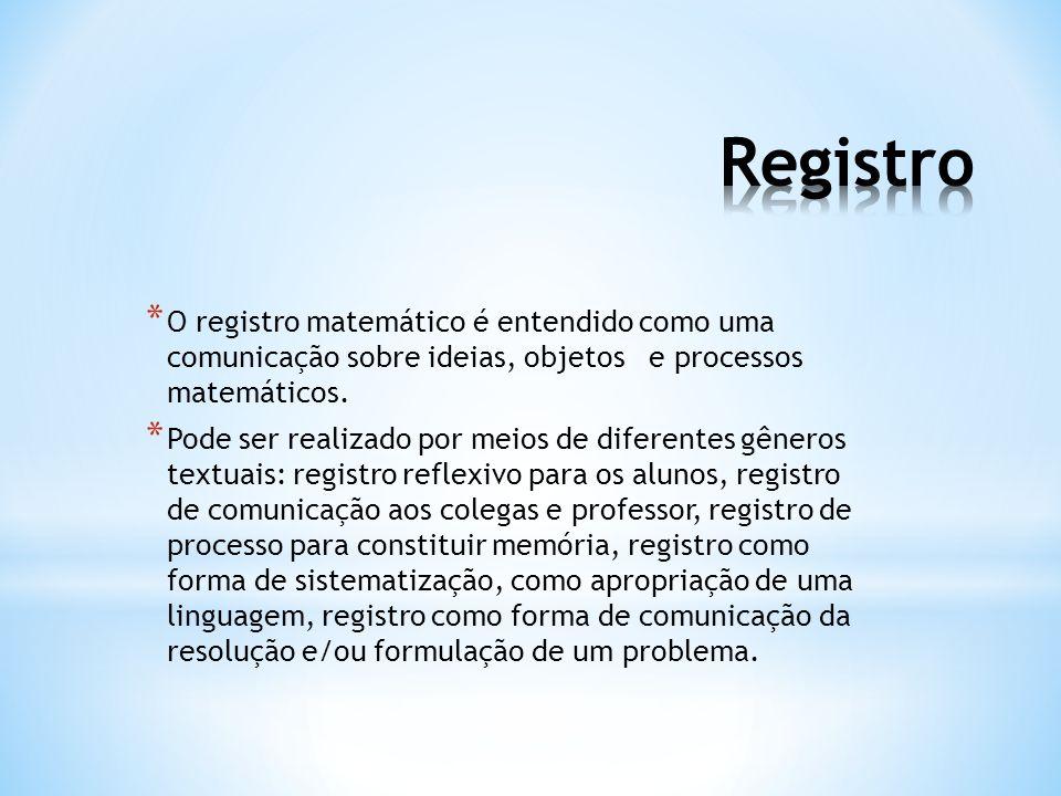 * O registro matemático é entendido como uma comunicação sobre ideias, objetos e processos matemáticos. * Pode ser realizado por meios de diferentes g