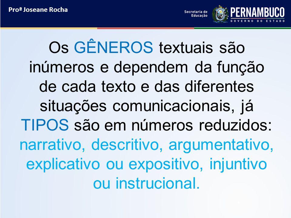 Proª Joseane Rocha Os GÊNEROS textuais são inúmeros e dependem da função de cada texto e das diferentes situações comunicacionais, já TIPOS são em núm