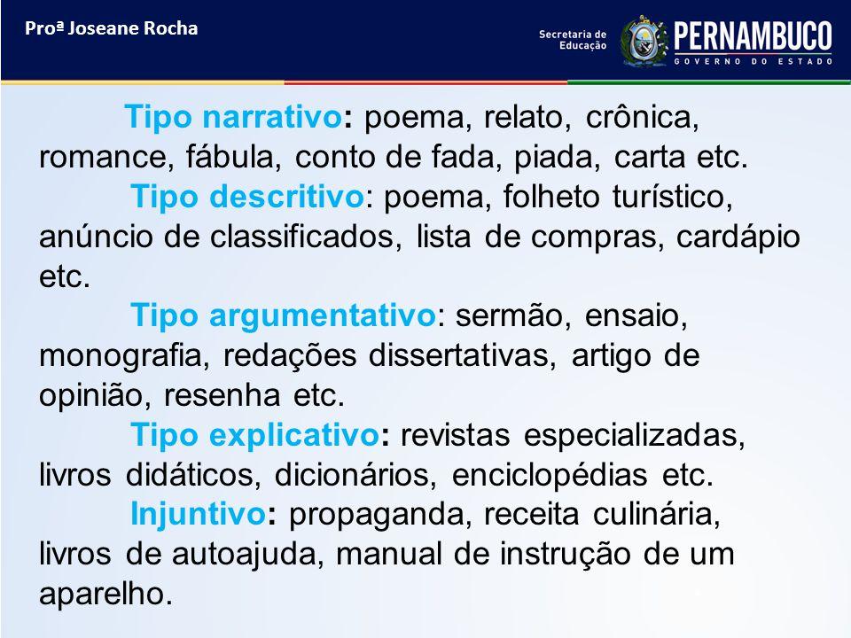 Proª Joseane Rocha Tipo narrativo: poema, relato, crônica, romance, fábula, conto de fada, piada, carta etc. Tipo descritivo: poema, folheto turístico