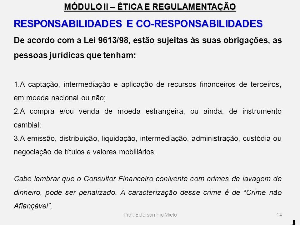 MÓDULO II – ÉTICA E REGULAMENTAÇÃO RESPONSABILIDADES E CO-RESPONSABILIDADES De acordo com a Lei 9613/98, estão sujeitas às suas obrigações, as pessoas