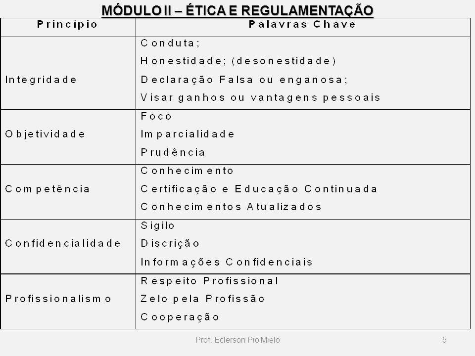 MÓDULO II – ÉTICA E REGULAMENTAÇÃO 5Prof. Eclerson Pio Mielo