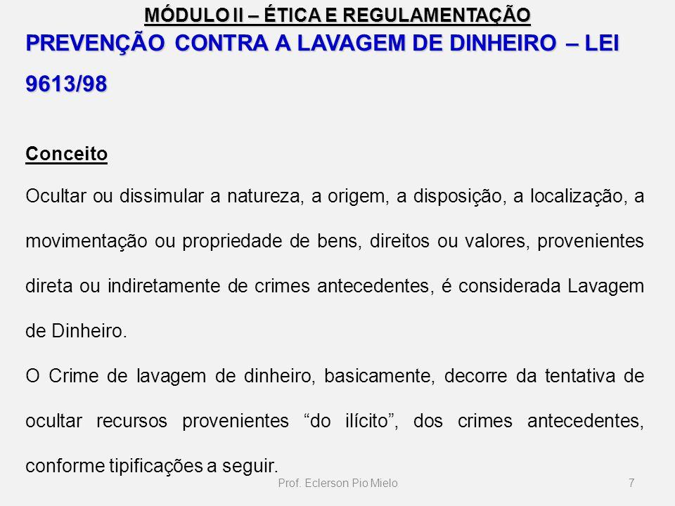 MÓDULO II – ÉTICA E REGULAMENTAÇÃO PREVENÇÃO CONTRA A LAVAGEM DE DINHEIRO – LEI 9613/98 Conceito Ocultar ou dissimular a natureza, a origem, a disposi