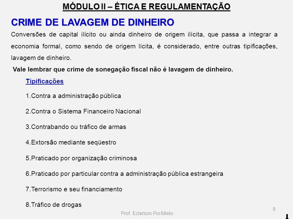 MÓDULO II – ÉTICA E REGULAMENTAÇÃO CRIME DE LAVAGEM DE DINHEIRO Conversões de capital ilícito ou ainda dinheiro de origem ilícita, que passa a integra