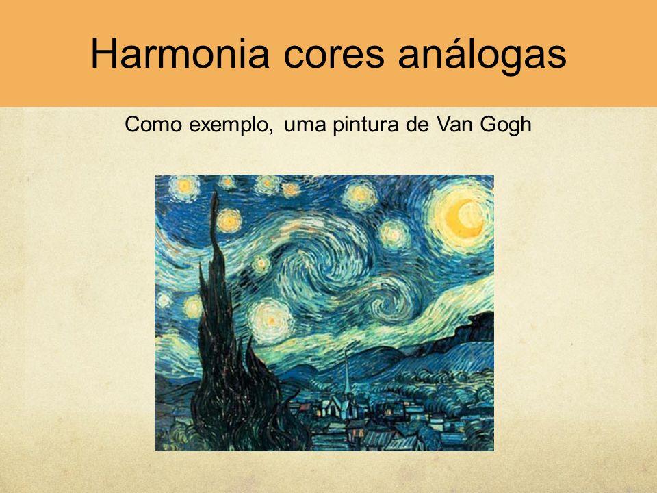 Harmonias de complementares A harmonia cromática pode ser conseguida quando o conjunto de cores utilizadas completa o espectro, ou seja, quando se utilizam dois grupos de cores que são complementares.
