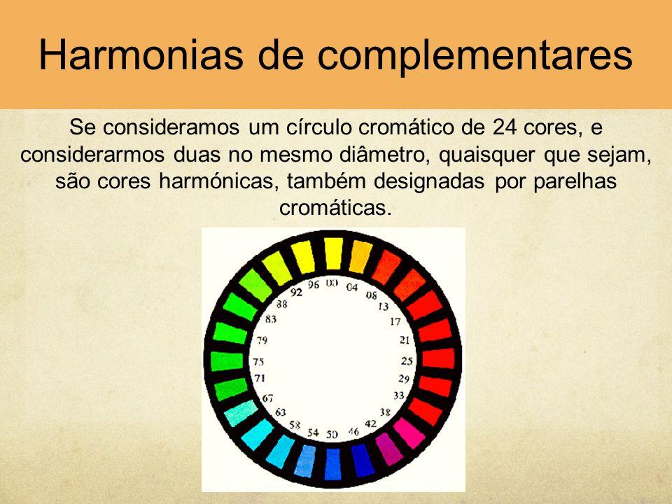 Se consideramos um círculo cromático de 24 cores, e considerarmos duas no mesmo diâmetro, quaisquer que sejam, são cores harmónicas, também designadas