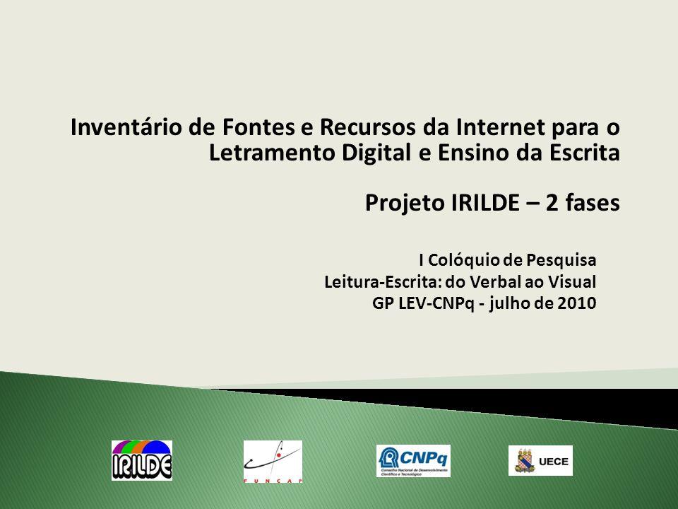 I Colóquio de Pesquisa Leitura-Escrita: do Verbal ao Visual GP LEV-CNPq - julho de 2010 Inventário de Fontes e Recursos da Internet para o Letramento