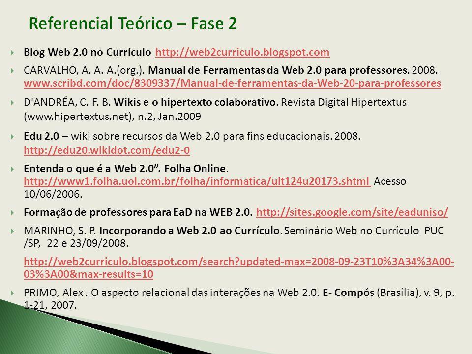 Blog Web 2.0 no Currículo http://web2curriculo.blogspot.com http://web2curriculo.blogspot.com CARVALHO, A. A. A.(org.). Manual de Ferramentas da Web 2