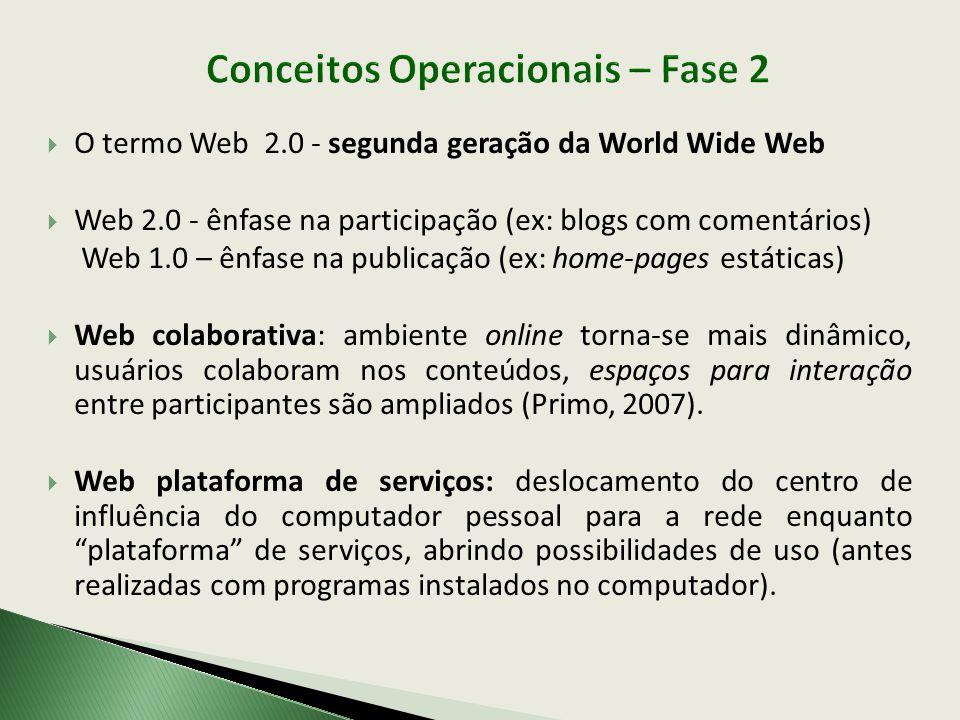 Conceitos Operacionais – Fase 2 O termo Web 2.0 - segunda geração da World Wide Web Web 2.0 - ênfase na participação (ex: blogs com comentários) Web 1