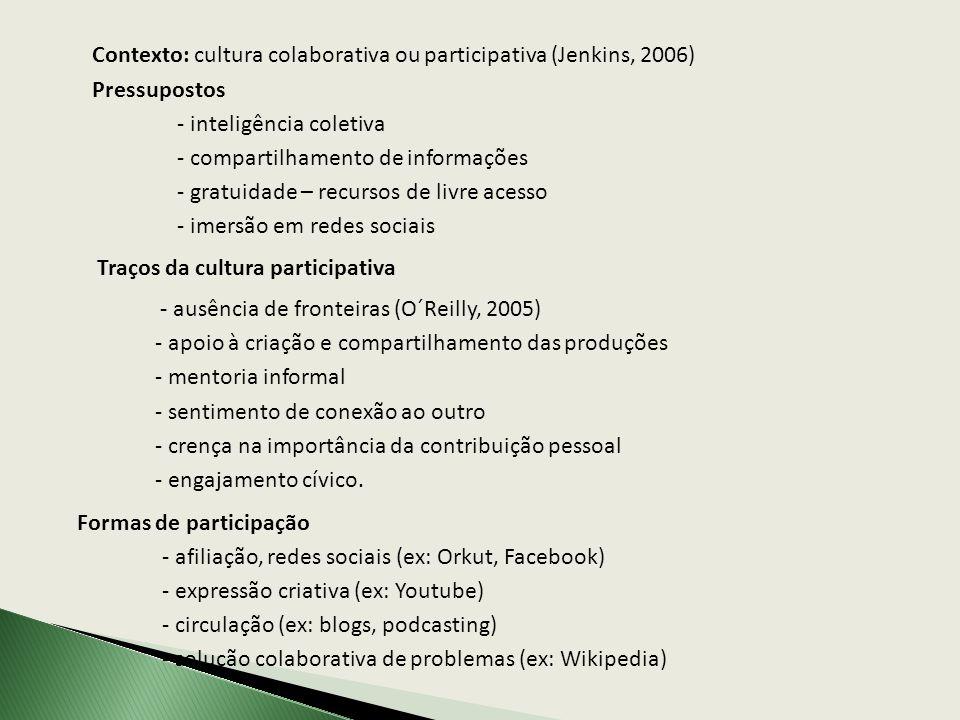 Contexto: cultura colaborativa ou participativa (Jenkins, 2006) Pressupostos - inteligência coletiva - compartilhamento de informações - gratuidade –
