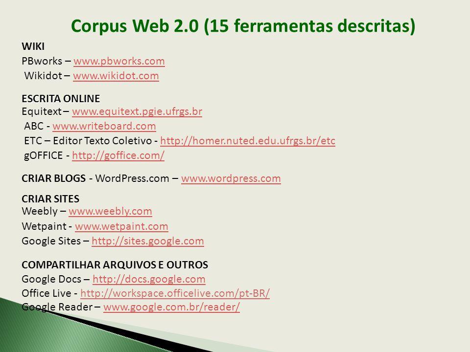 Corpus Web 2.0 (15 ferramentas descritas) WIKI PBworks – www.pbworks.comwww.pbworks.com Wikidot – www.wikidot.comwww.wikidot.com ESCRITA ONLINE Equite
