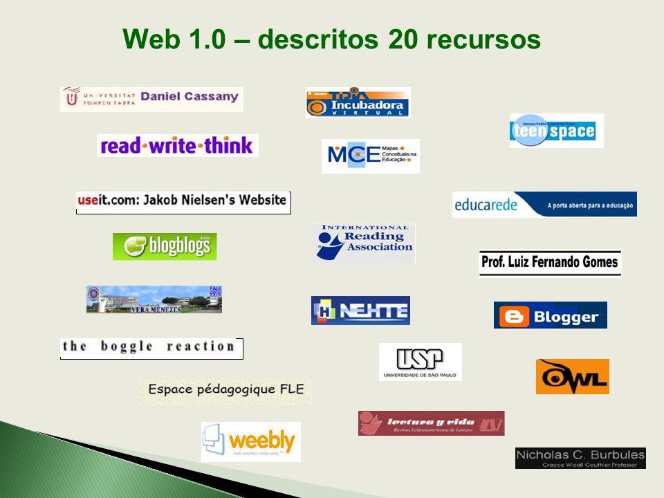 Web 1.0 – descritos 20 recursos