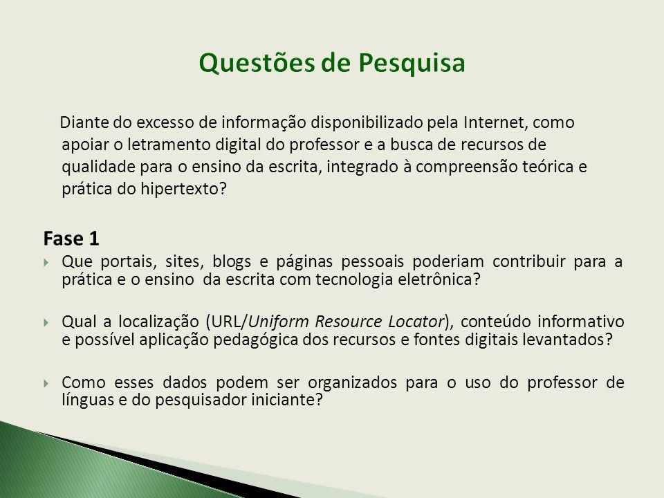 Diante do excesso de informação disponibilizado pela Internet, como apoiar o letramento digital do professor e a busca de recursos de qualidade para o