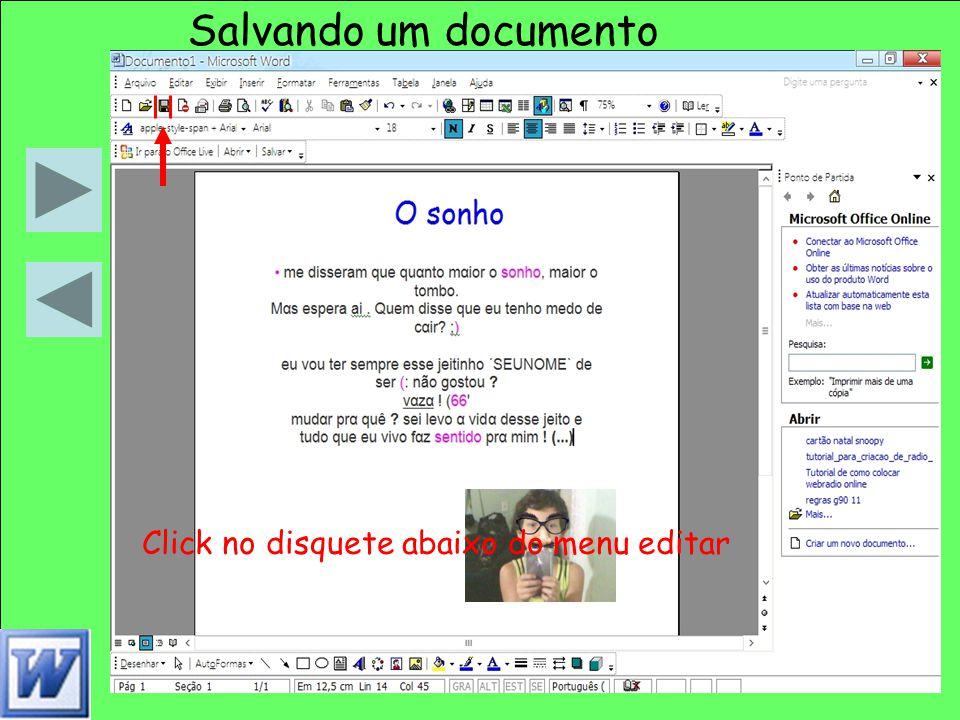 Salvando um documento Click no disquete abaixo do menu editar