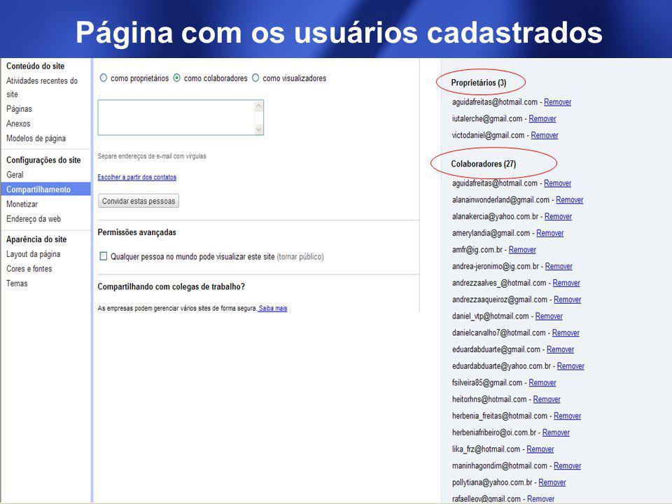 Página com os usuários cadastrados
