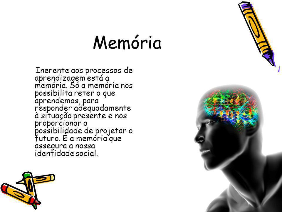 Memória Inerente aos processos de aprendizagem está a memória.