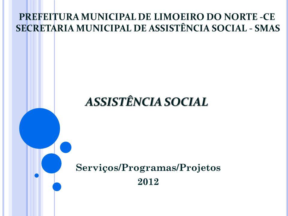 ASSISTÊNCIA SOCIAL PREFEITURA MUNICIPAL DE LIMOEIRO DO NORTE -CE SECRETARIA MUNICIPAL DE ASSISTÊNCIA SOCIAL - SMAS ASSISTÊNCIA SOCIAL Serviços/Program