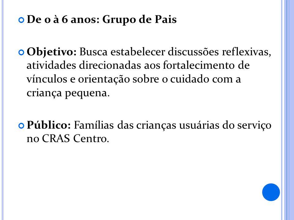 De 0 à 6 anos: Grupo de Pais Objetivo: Busca estabelecer discussões reflexivas, atividades direcionadas aos fortalecimento de vínculos e orientação sobre o cuidado com a criança pequena.