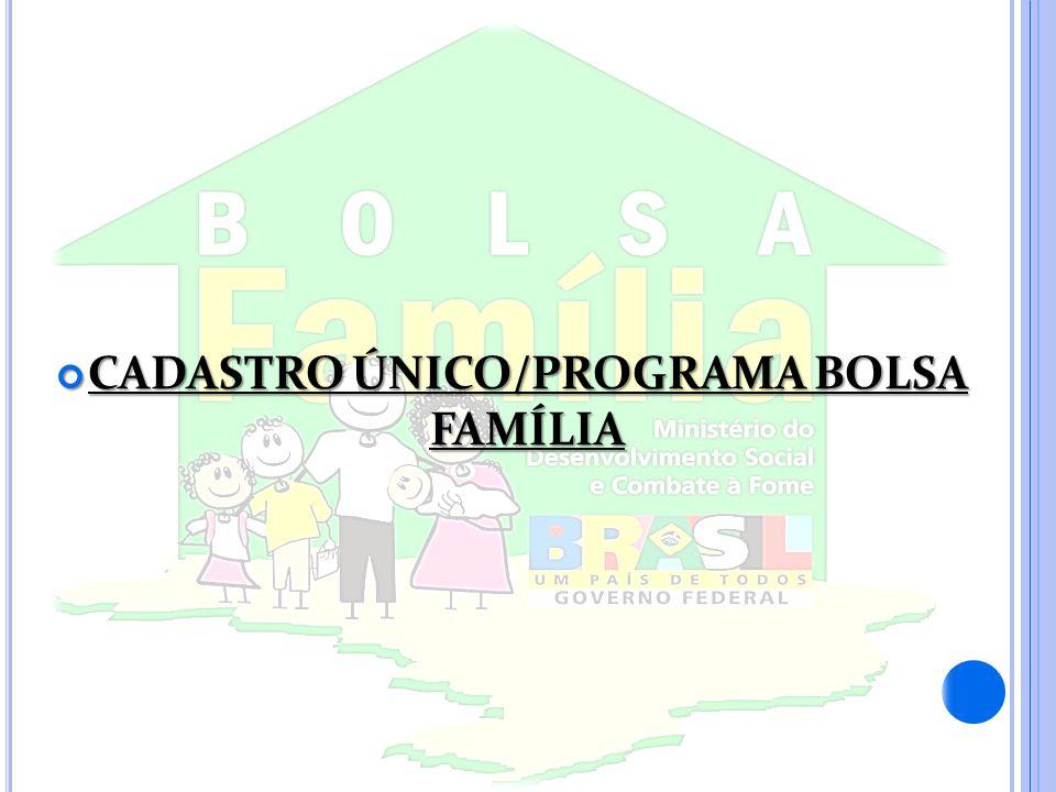 CADASTRO ÚNICO/PROGRAMA BOLSA FAMÍLIA CADASTRO ÚNICO/PROGRAMA BOLSA FAMÍLIA