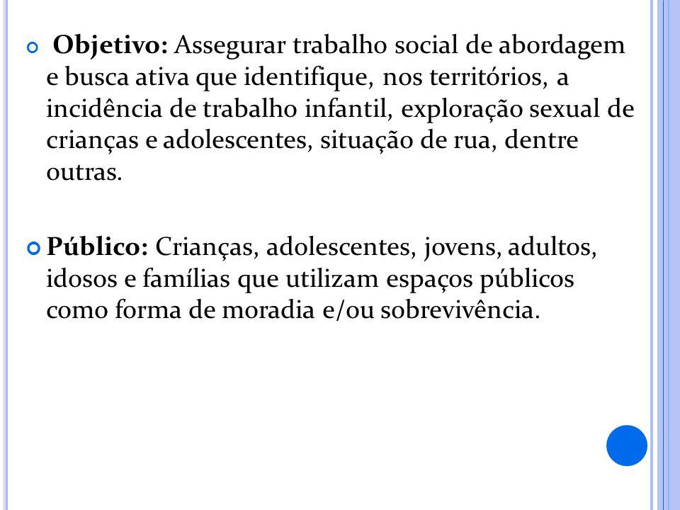 Objetivo: Assegurar trabalho social de abordagem e busca ativa que identifique, nos territórios, a incidência de trabalho infantil, exploração sexual