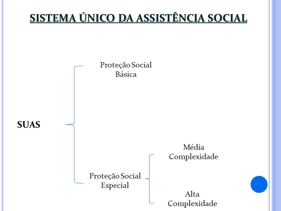 SISTEMA ÚNICO DA ASSISTÊNCIA SOCIAL SUAS Proteção Social Básica Proteção Social Especial Média Complexidade Alta Complexidade