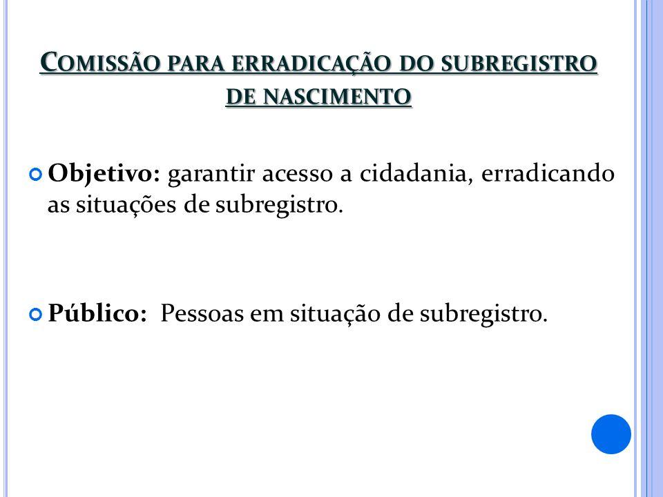 C OMISSÃO PARA ERRADICAÇÃO DO SUBREGISTRO DE NASCIMENTO Objetivo: garantir acesso a cidadania, erradicando as situações de subregistro. Público: Pesso