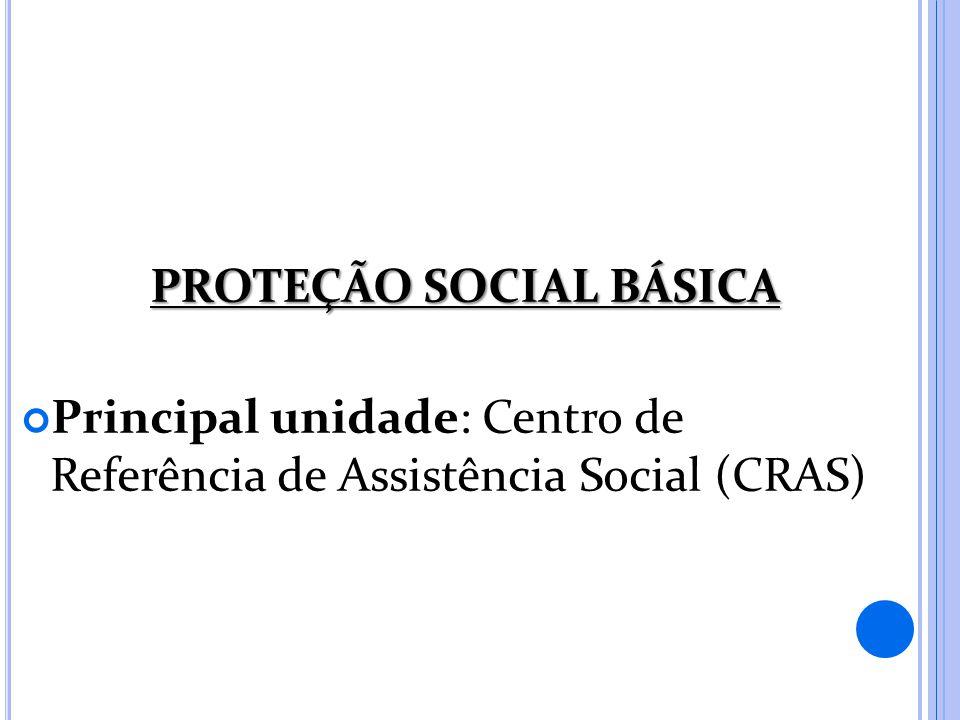 PROTEÇÃO SOCIAL BÁSICA Principal unidade: Centro de Referência de Assistência Social (CRAS)