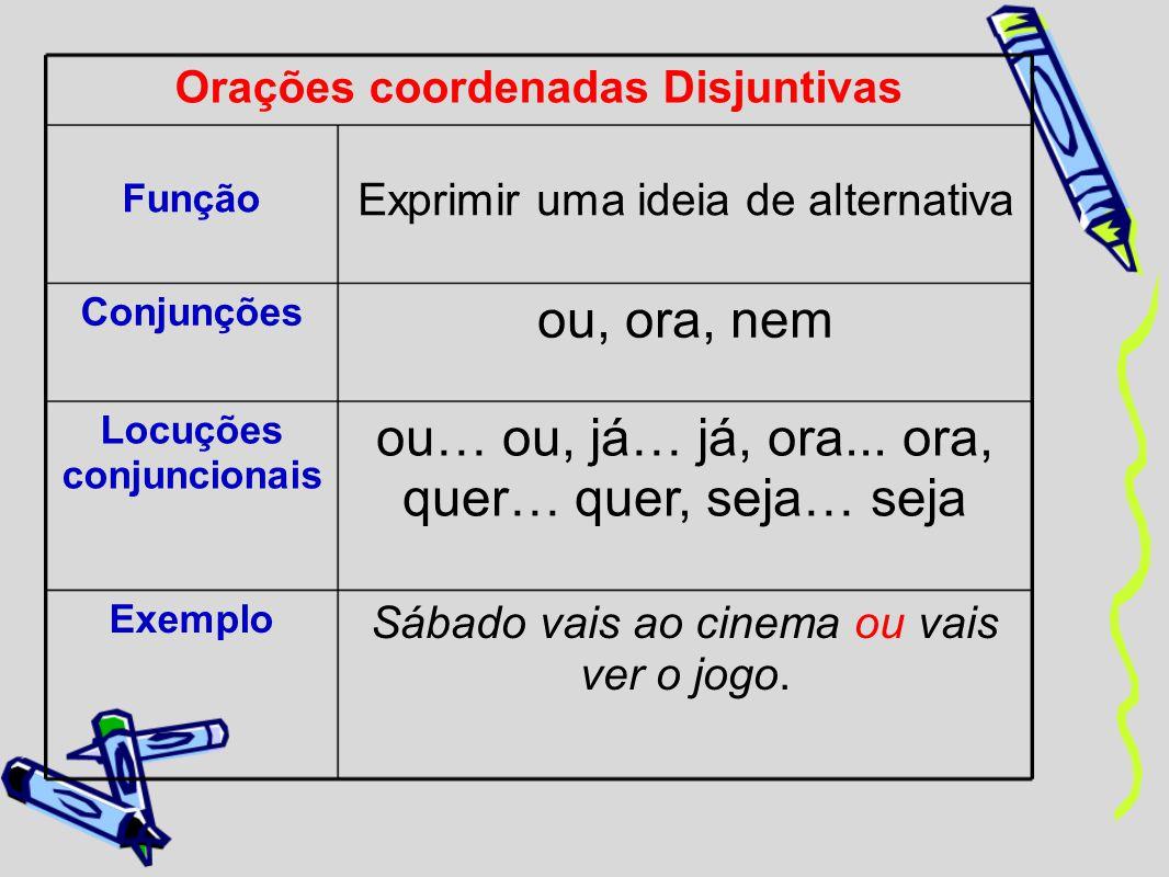 Orações coordenadas Disjuntivas Função Exprimir uma ideia de alternativa Conjunções ou, ora, nem Locuções conjuncionais ou… ou, já… já, ora... ora, qu