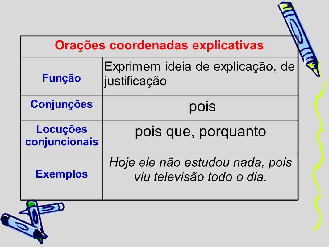 Orações coordenadas explicativas Função Exprimem ideia de explicação, de justificação Conjunções pois Locuções conjuncionais pois que, porquanto Exemp