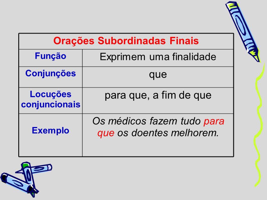 Orações Subordinadas Finais Função Exprimem uma finalidade Conjunções que Locuções conjuncionais para que, a fim de que Exemplo Os médicos fazem tudo