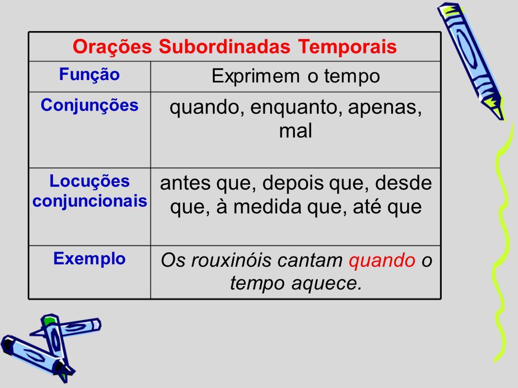 Orações Subordinadas Temporais Função Exprimem o tempo Conjunções quando, enquanto, apenas, mal Locuções conjuncionais antes que, depois que, desde qu