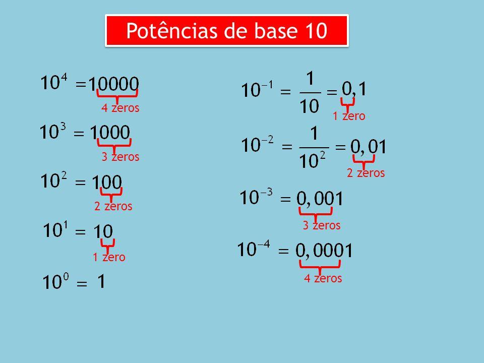 Através de potências podemos representar números muito grandes ou muito pequenos. Exemplos: