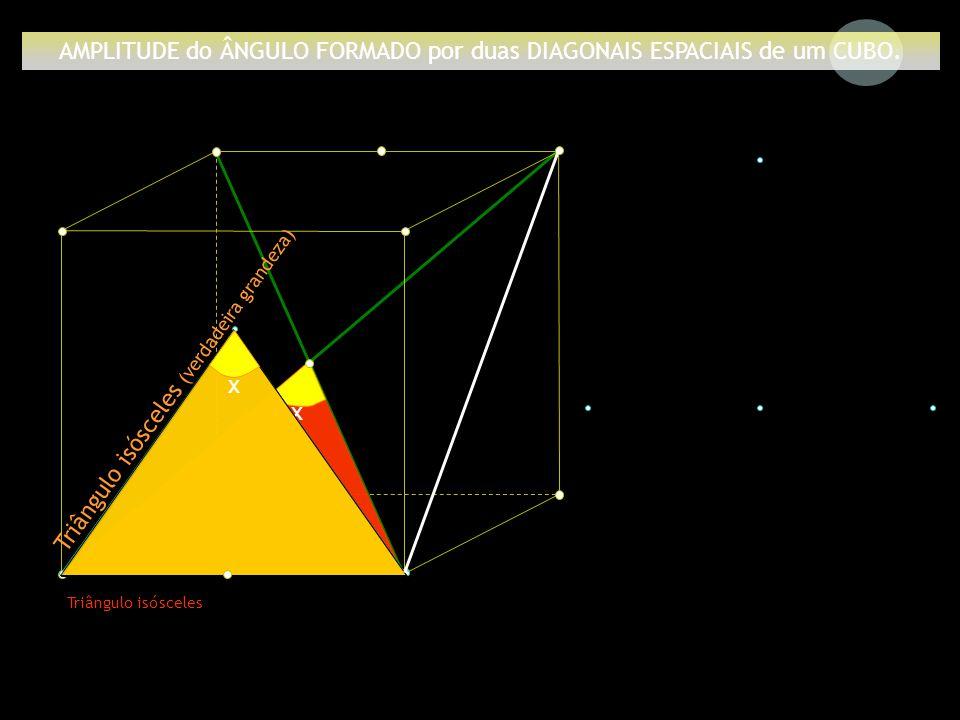 a x Triângulo isósceles AMPLITUDE do ÂNGULO FORMADO por duas DIAGONAIS ESPACIAIS de um CUBO. Triângulo isósceles (verdadeira grandeza) x